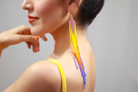 Long Beaded Boho Earrings, Native Shoulder Duster Earrings, Indigenous Made Earrings, Colorful Chandelier Earrings, Handmade Earrings