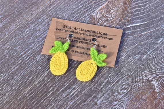 Pineapple Earrings, Tropical Boho Earrings, Fun Jewelry, Macrame Earrings, Ultra Light Earrings, Yellow, Handmade, Indigenous Made Earrings