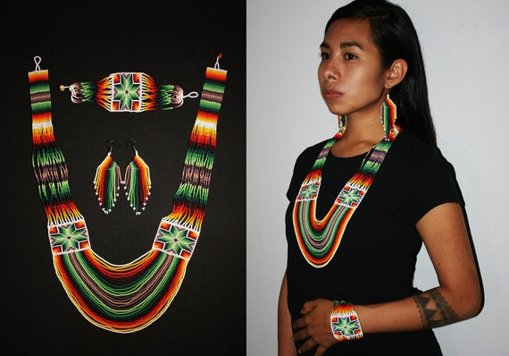 Tribal Boho Statement Jewelry, Native American Necklace with Earrings Bracelet, Huichol Jewelry Set, Beaded Peyote Necklace Set, Colorful