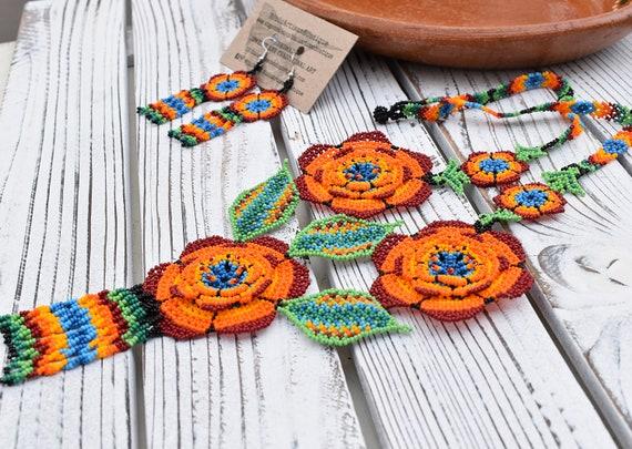 Beaded Boho Necklace, Boho Earrings, Native American Beaded Jewelry, Earrings, Modern, Colorful, Statement, Jewelry Set, Indigenous Made