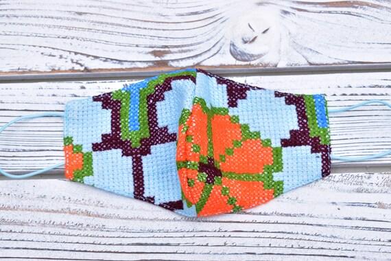 Hand Embroidered Face Mask, Indigenous Pattern, Peyote Flower Mask, Decorated Protective Mask, Boho Style Face Mask, Boho Chic, Tribal Mask