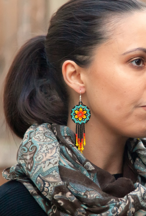 Starburst Earrings, Beaded Stars, Native American Jewelry Huichol, Star Earrings, Cute Circles w/ Tassels   Biulu Artisan Boutique