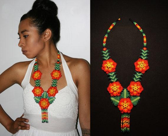 Boho Beaded Flower Necklace, Native American Beaded Necklace, Huichol Jewelry, Statement, Beaded Boho Necklace, Orange Flowers, Handmade