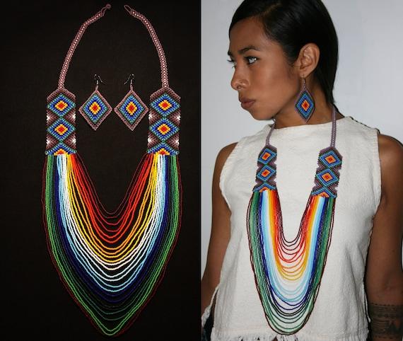 Huichol Necklace w/ Earrings, Ojo de Dios Huichol Jewelry Set, Native American Style Beaded Necklace Set, Statement Necklace