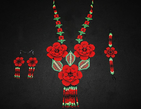 Huichol Rose Jewelry Set, Boho Flower Jewelry, Huichol Necklace Earrings Bracelet, Rose Necklace, Native American Seed Bead Jewelry Set