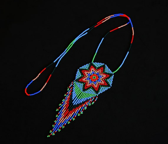 Beaded Star Necklace, Native American Sun Necklace, Huichol Beaded Necklace, Festival Necklace, Tribal Necklace, Traditional Beadwork