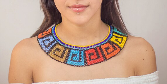 Vibrant Boho Necklace, Native Style Beaded Necklace, Collar Necklace, Statement, Seed Bead Jewelry, Indigenous Made, Geometric Design