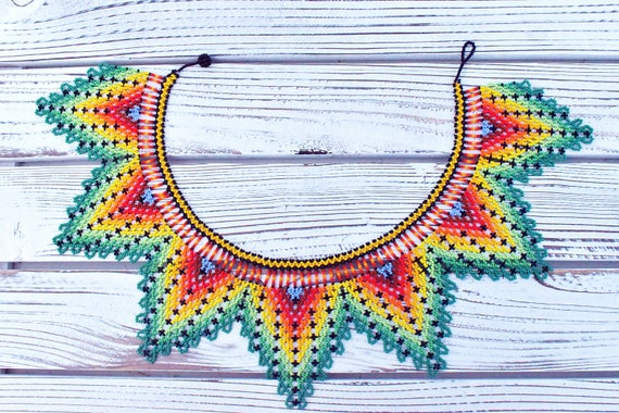 Statement Collar Necklace, Native American Beaded Necklace, Bold, Colorful, Boho Necklace, Indigenous Made | Biulu Artisan Boutique