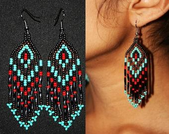 Beaded Huichol Earrings, Native American Peyote Earrings, Dangling Earrings, Long earrings, Peyote Beadwork, Huichol Beadwork, Turquiose