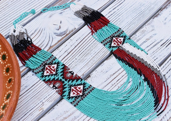 Blue Boho Necklace, Modern, Native American Beaded Necklace, Statement Jewelry, Seed Bead, Turquoise, Handmade   Biulu Artisan Boutique