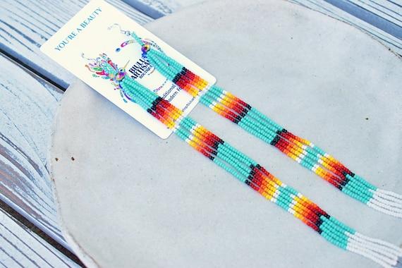 Long Boho Chandelier Earrings, Beaded Boho Earrings, Native Shoulder Duster Earrings, Indigenous Made Earrings, Handmade Earrings, Colorful