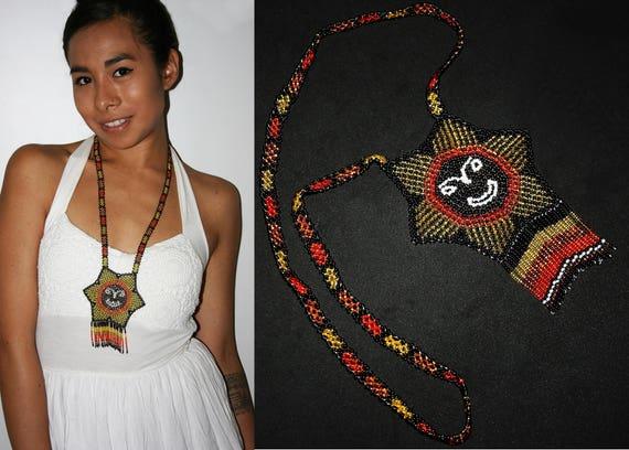 Huichol Sun Necklace, Sparkling Seed Bead Necklace, Native American Sun Necklace, Huichol Necklace, Huichol Jewelry, Hippie Sun Necklace