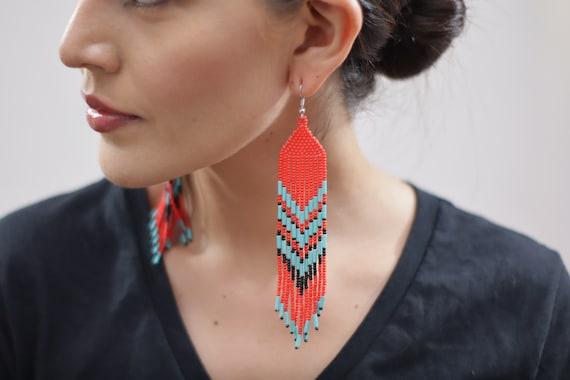 Long Tribal Earrings, Boho Beaded Earrings, Indigenous Made, Jewelry, Handmade, Native American Beaded Earrings, Statement Earrings