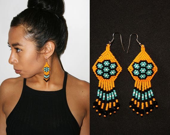 Dainty Beaded Earrings, Cute Native American Earrings, Gift for Girls, Huichol Jewelry, Fun and Colorful   Biulu Artisan Boutique