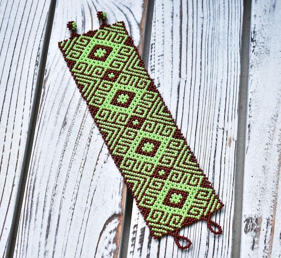 Tribal Beaded Boho Bracelet, Tribal Pattern Bracelet, Native American Beaded Bracelet, Earthy Chic Bracelet, Wide Cuff Bracelet, Handmade
