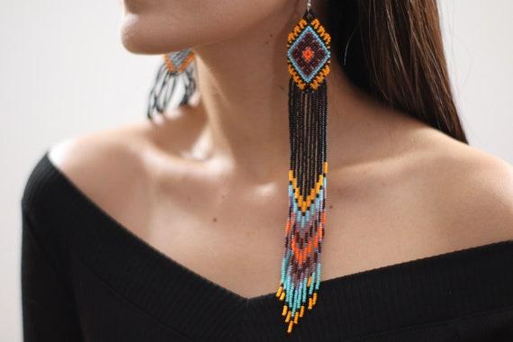 Long Beaded Earrings, Boho Chandelier Earrings, Native American Should Dusters, Chic, Colorful, Boho Handmade Earrings, Indigenous Made