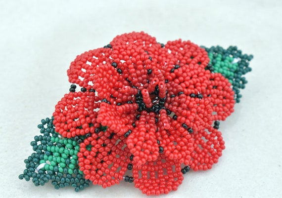 Wild Red Rose Flower Hairclip, Handmade Beaded Barrette, Boho, Native American Jewelry, Indigenous Made, Boho Hair Accessories, Rose Jewelry