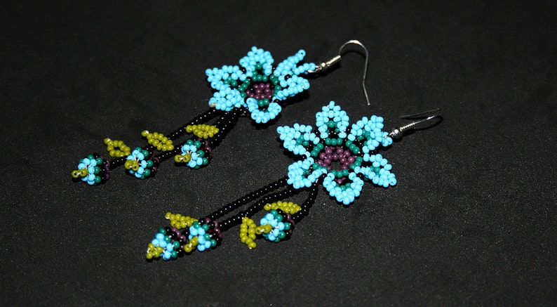 Huichol Jewelry Huichol Beadwork Beaded Huichol Earrings Native American Earrings Blue Dangling Earrings Beaded Flower Earrings