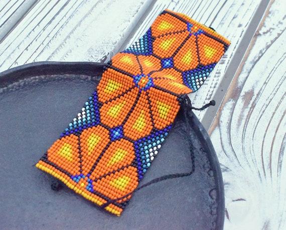 Native Style Cuff Bracelet, Native American Peyote Bracelet, Peyote, Good Luck Charm, Men's Bracelet, Unisex, Indigenous Made, Handmade