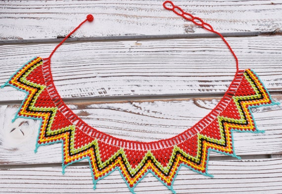 Boho Jewelry, Bohemian Necklace, Native American Indian Jewelry, Beaded Necklace, Long Necklace, Tribal, Bright Colorful, Choker Necklace