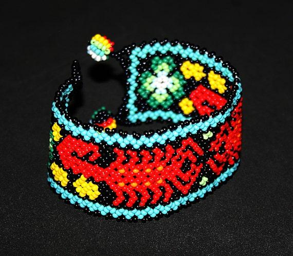 Huichol Scorpion Bracelet, Native American Cuff Bracelet, Beaded Huichol Bracelet, Mexican Bracelet, Huichol Jewelry, Traditional Beadwork