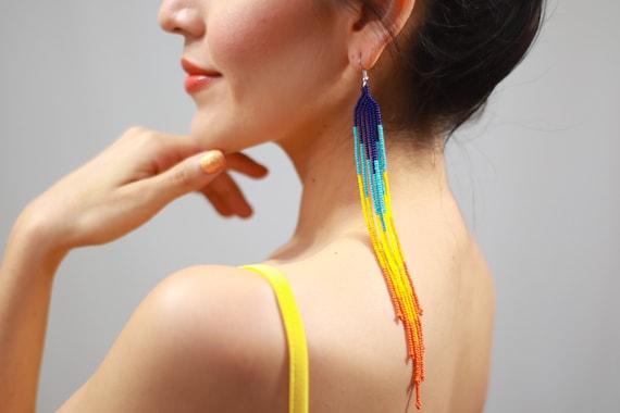 Boho Shoulder Duster Earrings, Indigenous Made Earrings, Long Beaded Earrings, Statement, Colorful Chandelier Earrings, Handmade Earrings