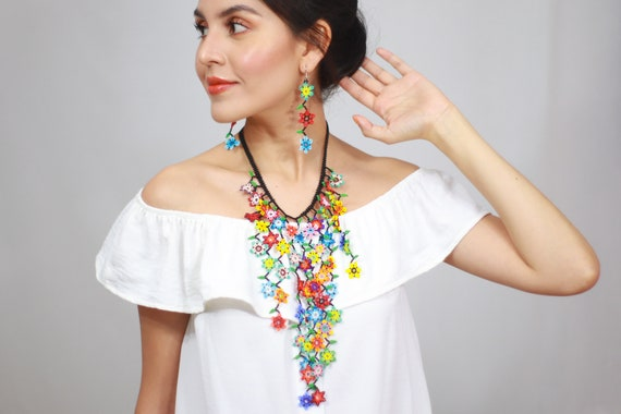 Flowering Vine Necklace, Boho Beaded Necklace, Boho Earrings, Modern Beaded Jewelry, Beaded Earrings, Indigenous Made, Handmade