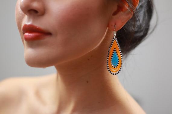 """2"""" Teardrop Earrings, Dainty Beaded Boho Earrings, Native Style Beaded Earrings, Chic, Tribal Earrings, Seed Bead Handmade Earrings"""