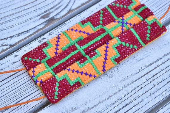 Small Hand Embroidered Face Mask, Indigenous Pattern, Decorated Protective Mask, Boho Style Face Mask, Boho Chic, Tribal Mask, Handmade