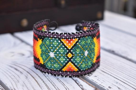 Beaded Peyote Bracelet, Native American Beaded Bracelet, Good Luck, Wisdom, Cuff Bracelet, Boho Tribal Bracelet, Seed Bead Bracelet