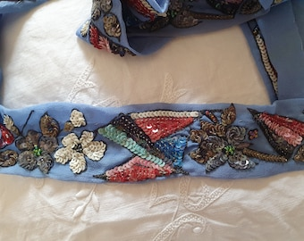 Three Lengths of Lovely Old Sari Trim, Sequins, Beads, Woven Pattern, Craft Uses.
