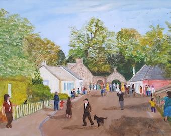 Lowland Scottish Village Summer Wedding Day  - Giclee Fine Art Signed Print by Alan Lees
