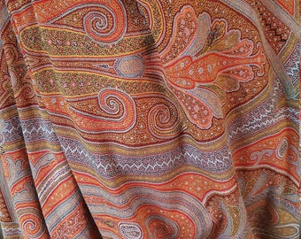 Huge Antique Single Sided Jacquard Woven Wool Scottish Paisley Crinoline Shawl, Epaulette Ends. Good condition.