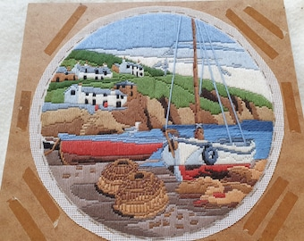 Two Very Pretty Vintage Woolwork Circular Hand Embroidered Pictures - without frames.