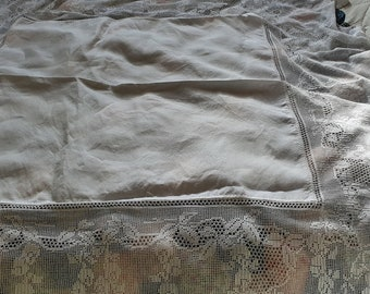 Large White Irish Linen Tablecloth with Very Deep Handmade Floral Crochet Lace Border - Very Pretty.
