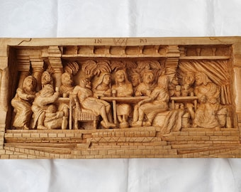 Extraordinary 'Last Supper' Relief Carving in Lime Wood, by Scottish Sculptor Alan Lees
