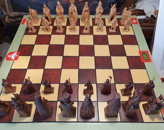 Exquisite Hand Carved Collectable Chess Set by Alan Lees, Scottish Woodcarver: Hapsburgs v Ottomans, Winged Hussars. Unique Artwork