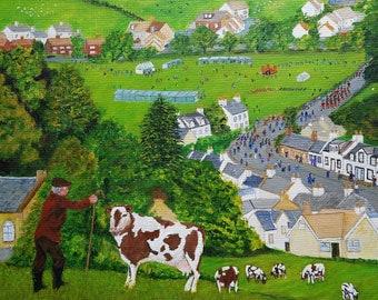 Lowland Scottish Village Summer Gala Day - Giclee Fine Art Signed Print