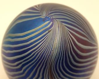 John Ditchfield Glasform Blue Glass Striped Paperweight - 2nd - but very beautiful.