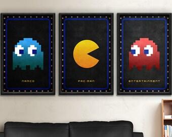 Pac, Man, Pac-Man, Pacman, Ghost, Ghosts, Pac Man, Namco, Atari, Arcade, Entertainment, 1982, Namco Entertainment Pac-Man Poster Print Set