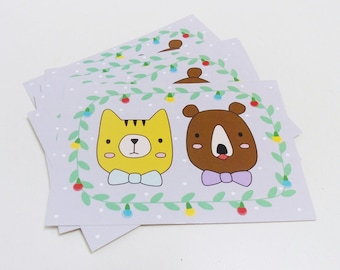 Christmas postcard, Holiday card, Cute cat and bear - Set of 10