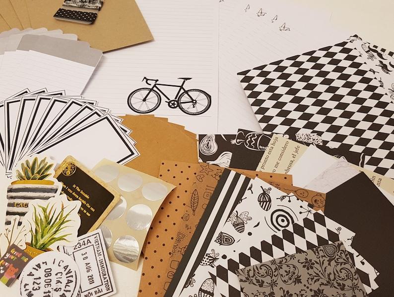 Snail mail kit Letter writing set  Black & White image 0