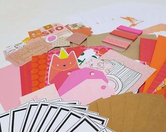 Snail mail kit, Letter writing set - Pink & Orange