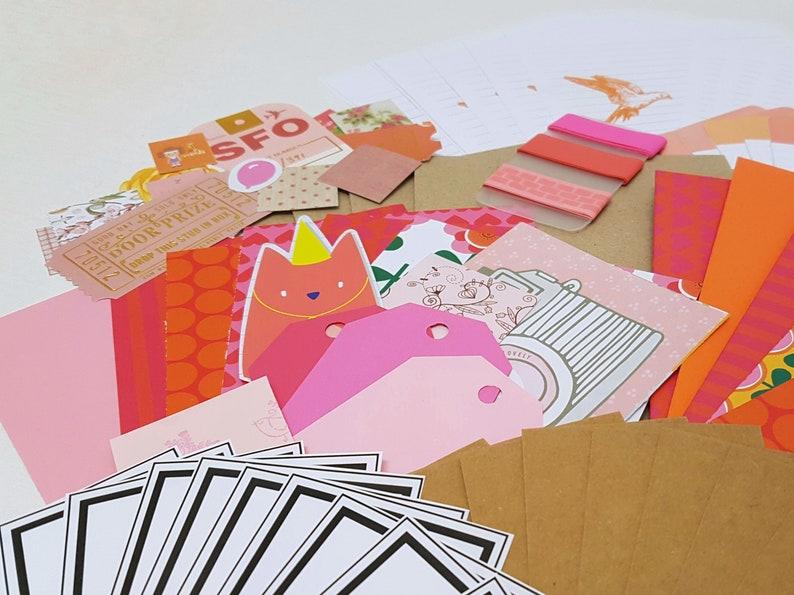 Snail mail kit Letter writing set  Pink & Orange image 0