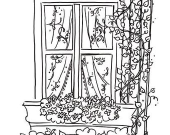 Bloomin Windowsill (coloring page download)