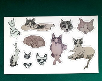 Kitty Sketch Stickers (Die-Cut Reusable Stickers)