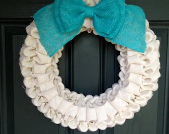 White Burlap Bubble Wreath - White and Blue Burlap Bubble Wreath - White Burlap Wreath