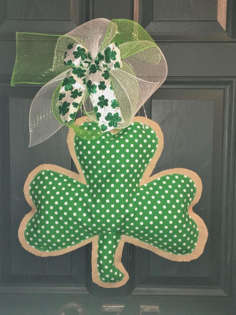 bf81ba010 Shamrock Door Hanger- St. Patrick's Day Door Hanger- Saint Patrick's Day  Decor- St. Patrick's Day- Shamrock Wreath- Spring Wreath