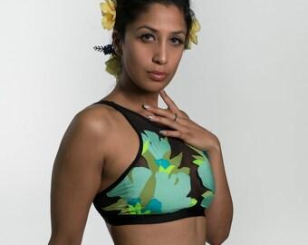 Fluorescent halter bikini