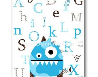 Digital Alphabet Nursery Baby Nursery Art Monster Digital Download Art Printable Digital Download Print 8x10 11X14 INSTANT DOWNLOAD wall art